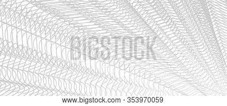Monochrome Line Art Design. Gray Tangled Wavy Lines. Knitting, Net, Textile, Mesh Textured Effect. S