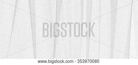 Vector Monochrome Textile Pattern. Gray Net With Vertical Drapery. Squiggle Thin Lines, Crisscross R