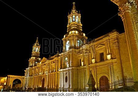 Incredible Night View Of The Basilica Cathedral Of Arequipa, Historic Place In Peru, South America
