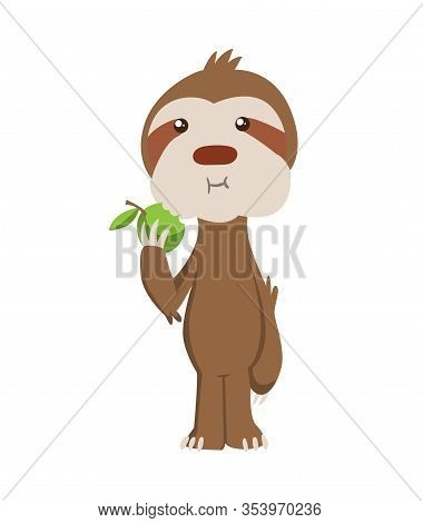 Cute Baby Sloth Standing And Eating Apple. Vector Funny Sloth Illustration For Summer Design. Adorab