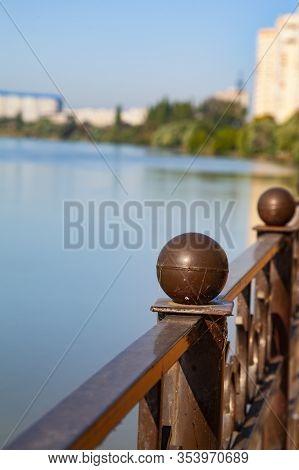Embankment Of The Kuban River, Krasnodar, Russia. View Of The Yubileiny Microdistrict.