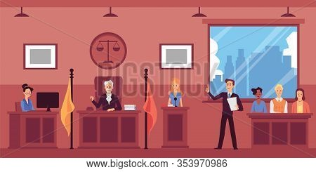 Judicial System With Lawyer Interrogating Witnesses, Flat Vector Illustration.