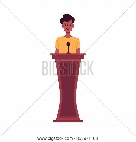 African American Woman - Witness In Court, Flat Vector Illustration Isolated.