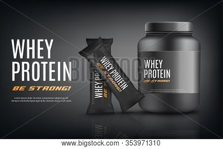 Whey Protein Banner With Nutrition Jar And Barsrealistic Vector Illustration.