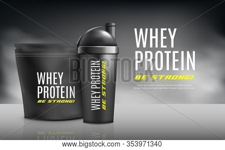 Whey Protein Advertising Banner Template 3d Realistic Vector Illustration.
