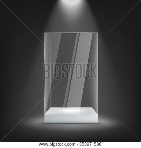 Big Glass Display Case On White Pedestal Mockup, Realistic Vector Illustration.