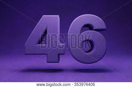 Violet Velvet Number 46. Indigo Color Font Character.. 3d Rendering.
