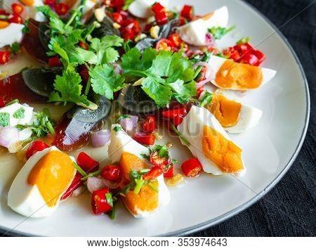 Salted Egg And Century Egg Salad Thai Food Menu,spicy, Sour, Salty, Sweet Taste. Main Ingredients,sa