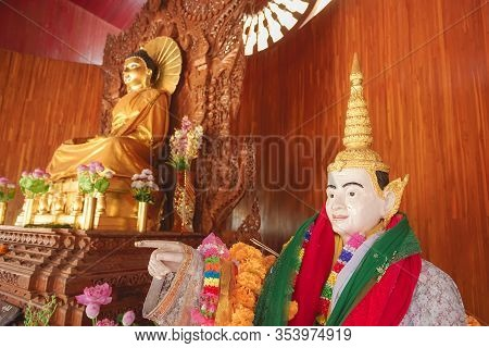 Beautiful Scene Of Bodh Gaya Pagoda Travel Attraction In Sangkhla Buri District, Kanchanaburi Provin