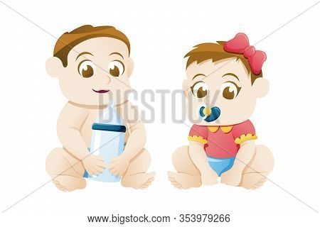 Vector Illustration Of Couple Baby Boy And Girl. Baby Girl And Boy Sitting On White Background, Litt