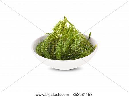 Fresh Sea Grapes, Green Cavia, Umi-budou Seaweed In White Small Bowl On White Background
