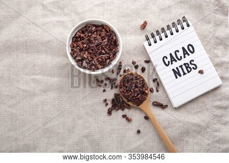 Cacao Nibs On Table, Top View With Copy Space