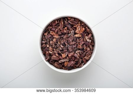 Cacao Nibs In White Bowl