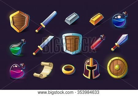 Set Of Vector Icons, Objects, Things, Item. Game Concept And Design. Design Element. Magical Magic.