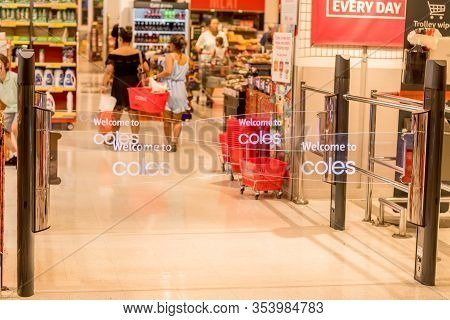 Sydney, Australia 2020-02-26 Transparent Anti-theft Entrance Gates Was Installed At Coles Westfield