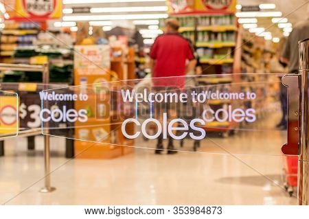 Sydney, Australia 2020-02-26 Welcome To Coles. Transparent Anti-theft Entrance Gates At Westfield Mi