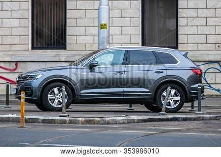 Volkswagen Suv Touareg R Line Parked In Downtown Of Bucharest, Romania, 2020.