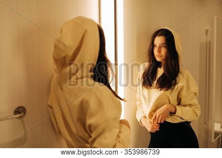 young woman in the fitting room