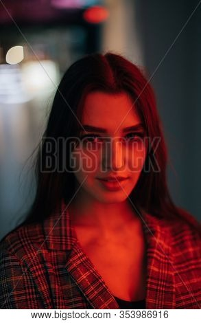 Night Portrait Of Young Woman,different light