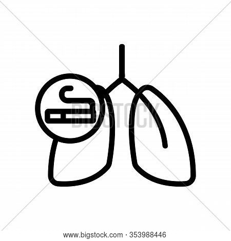 Cancer, Smoking Icon Vector. Thin Line Sign. Isolated Contour Symbol Illustration