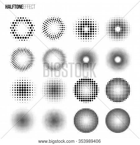 Vector Halftone Effect Set. Different Gradient Rings And Circles In Halftone Effect