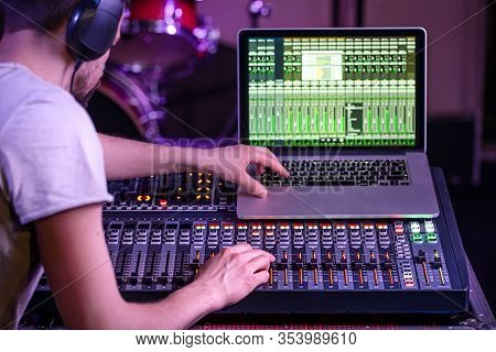 Digital Mixer In A Recording Studio , With A Computer For Recording Music. On The Background Of The