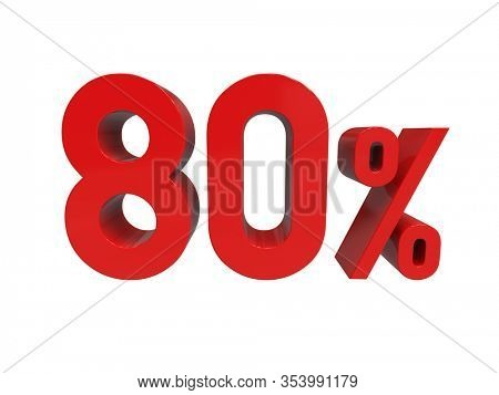 3d Render: ISOLATED Red 80% Percent Discount 3d Sign on White Background, Special Offer 80% Discount Tag, Sale Up to 80 Percent Off, Eighty Percent Letters Sale Symbol, Special Offer Label