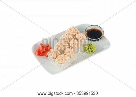 Sushi, Rolls, Uramaki, Alaska With Lava Sauce, Tobiko Caviar, Raw Seafood, Soy Sauce, Marinated Ging