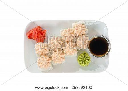 Sushi, Rolls, Uramaki, Alaska, With Lava Sauce, Tobiko Caviar, Raw Seafood, Soy Sauce, Marinated Gin