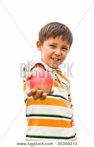 A Little Boy With An Apple In His Hand