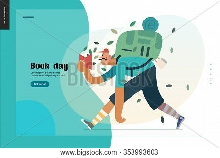 Wood Webdesign Template -world Book Day Graphics -book Week Events. Modern Flat Vector Concept Illus