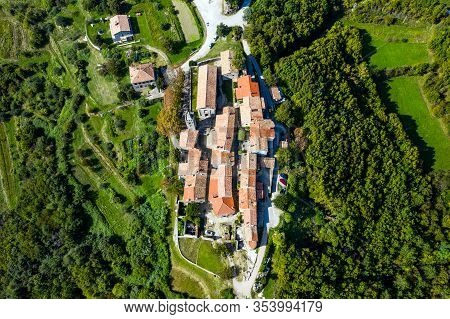 Croatia, Region Of Istria, Old Town Of Hum On The Hill, Beautiful Traditional Architecture In Aerial