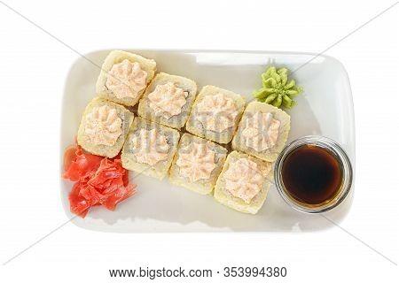 Sushi, Rolls, Uramaki, Alaska, Tempura With Lava Sauce, Tobiko Caviar, Raw Seafood, Soy Sauce, Marin
