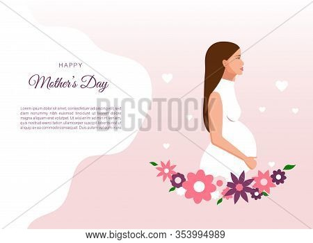 Happy Mothers Day vector illustration of pregnant woman. Made Mothers Day in cartoon style. Happy Mother\'s Day, Perfect for mothers day banner and web sites mothers day