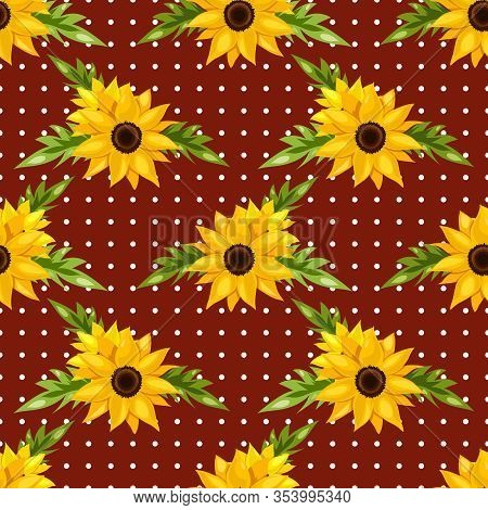 Summer Floral Seamless Pattern Of Beautiful Sunflowers With Leaves On White Polka Dot On Red Backgro