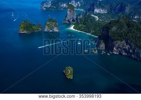 Ao Nang Aerial View Krabi Most Famous Beaches, Phra Nang Beach, Railey West Beach, Tonsai Bay Beach