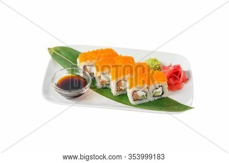 Sushi, Rolls, Uramaki California With Tobiko Caviar, Cucumber, Cheese, Crab Meat, Raw Seafood, Soy S