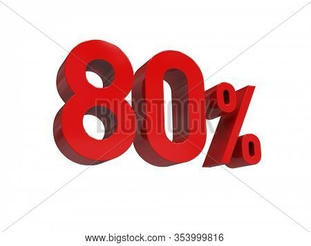 3d Render: ISOLATED Red 80% Percent Discount 3d Sign on White Background, Special Offer 80% Discount Tag, Sale Up to 80 Percent Off,  Eighty Percent Letters Sale Symbol, Special Offer Label, Sticker