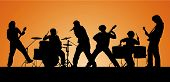 Rock band. Silhouettes of six musicians. Vector illustration. poster
