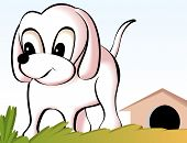 Illustration of a cartoon puppy in front of kennel poster