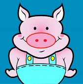 Pig colorful icon. Use for avatar or your profile picture poster
