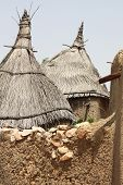 Thatched roofs of a Dogon village in Mali, West Africa poster