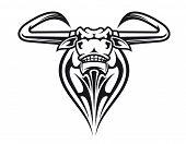 Wild buffalo bull head for mascot or tattoo design poster
