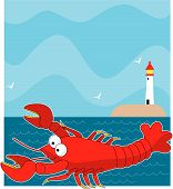 A large red cartoon style lobster. The background is the ocean with a light house on the horizon. poster