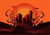 Abstract vector illustration of a grunge style city background poster