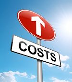 Illustration depicting a roadsign with a cost increase concept. Blue sky background. poster