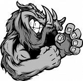 Razorback or Boar Fighting Mascot Body Vector Illustration poster