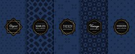 Luxury Vector Seamless Pattern Collection. Set Of Floral Geometric Background Swatches With Modern G