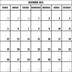 Calendar Planner Month December 2021 On Transparent Background Designer Cut