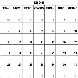 Calendar Planner Month July 2021 On Transparent Background Designer Cut